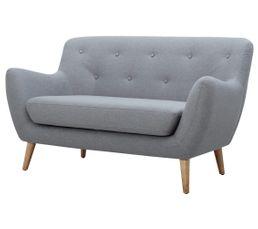 Canapé 2 places scandinave MILO Tissu gris clair