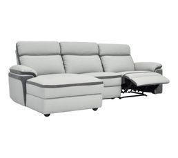 Canapé méridienne gauche relax WILLY PU/microfibre gris clair