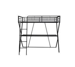 mezzanine 90x190 cm et bureau studi 2 poxy noir lits. Black Bedroom Furniture Sets. Home Design Ideas