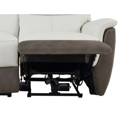 Canapé 2 places relax électri. MAESTRO Cuir/tissu Blanc/Marron