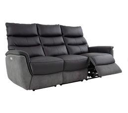 Canapé 3 places relax électri. MAESTRO Cuir/tissu Noir/Gris