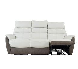 Canapé 3 places relax électri. MAESTRO Cuir/tissu Blanc/Marron