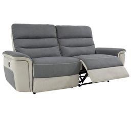 Canap 3 places 2 relax manuel seattle microfibre gris - Canape gris perle ...