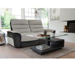 Canapé 3 places 2 relax manuel SEATTLE microfibre Taupe/Charbon