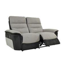 Canapé 2 places 2 relax manuel SEATTLE microfibre taupe et charbon