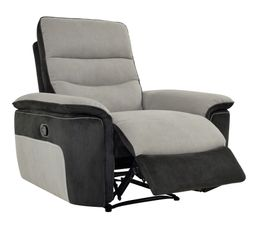Fauteuil relax manuel SEATTLE microfibre Taupe/Charbon