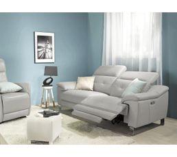 Canapé 3 places relax électri. RIALTO Cuir/PU Taupe