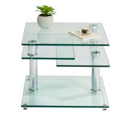 DINO 2 Table basse verre et chromé