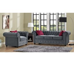 Fauteuil chesterfield CHESTER tissu gris anthracite
