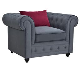 Fauteuil chesterfield chester tissu gris anthracite - Fauteuil chesterfield tissu ...
