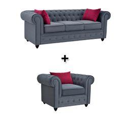 Canapé 3 places + fauteuil tissu gris foncé CHESTER