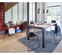 Table rectangle + 2 allonges CAMDEN Chêne sonoma/noir