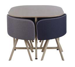 Table 4 chaises melo bois bleu tables but for Table chaise bois