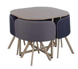 Un ensemble table de repas et chaises au design nordique. Vous aimerez sa forme originale et sa fonction de rangement idéale pour les petits espaces. Garantie : 2 ans , Pièces Piètement : acier revêtu impression transfert imitation bois. Plateau : panneau