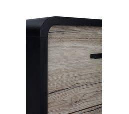 commode 3 tiroirs SIXTIES PVC noir et imitation chêne