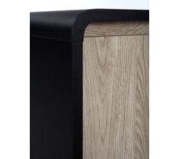 Rangement 2 portes  PVC noir et imitation chêne.