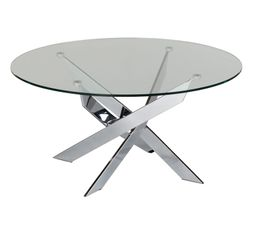 Table basse PIVO Verre et Chrome