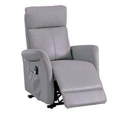 Un fauteuil cuir/PU relax électrique a 2 moteurs qui permettent un réglage dissocié des jambes et du dos. Il est dôté d'une fonction releveur. Existe en plusieurs coloris. Dispo pcs détachées donnée fournisseur : NC. Structure : pin et contreplaqué. Suspe