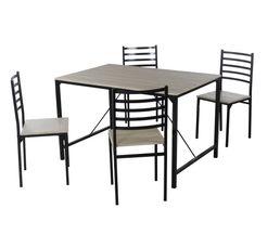 Ensemble table + 4 chaises BROOK Noir et chêne