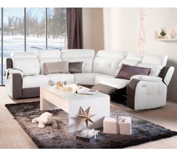 Canape D Angle 2 Relax Electrique Caravelle Ii Cuir Blanc Micro Gris