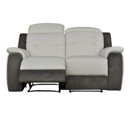 Canapé 2 places 2 Relax élect. CARAVELLE II Cuir/Croûte cuir Blc/Micr.Gris