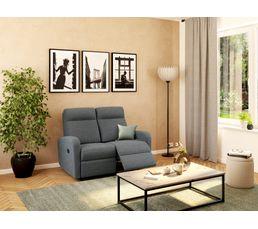 Canapé relax deux places OSCAR Tissu gris clair