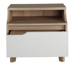 Chevet 1 tiroir 1 niche Nordic imitation chêne et blanc