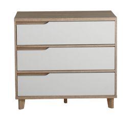 Commode 3 tiroirs Nordic imitation chêne et blanc