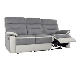 canap 3 places 2 relax manuel princeton micropu gris - Canape 3 Places Relax