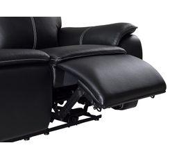 Canapé 3 places 2 relax élec. AUSTIN Cuir/PU Noir
