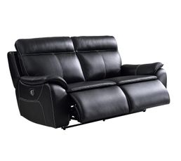 Canapé 3 places 2 relax électrique AUSTIN cuir et PU noir