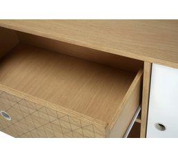 Commode 3 tiroirs 1 porte Floden imitation chêne et sérigraphié