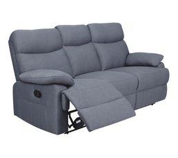 Canapé 3 places 2 relax manuel JODIE tissu gris bleuté 12f3ba9f059b