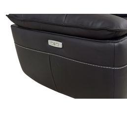 Canapé 3 places 2 Rlx électri. EVOGG Cuir / croûte cuir Noir