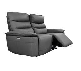 Canapé 2 places 2 relax électriques EVOGG cuir et croûte de cuir noir