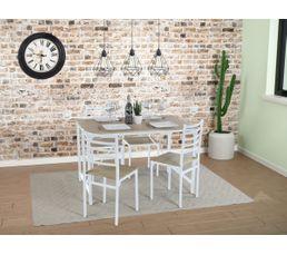 Ensemble table + 4 chaises BROOK Blanc et chêne