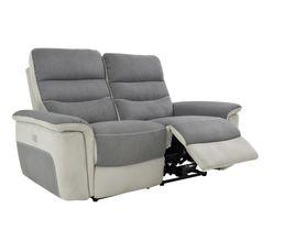 Canapé 2 places 2 relax élect. SEATTLE microfibre Gris/Gris perle
