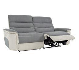 Canapé 3 places 2 relax élect. SEATTLE microfibre Gris/Gris perle