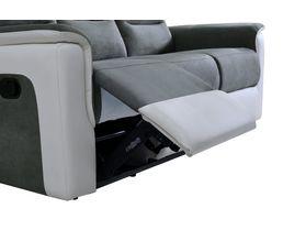 Canapé 3 places 2 relax HALTON PU Blanc/Tissu Gris