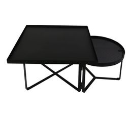Table basse industrielle BAHIA plateau amovible Métal noir