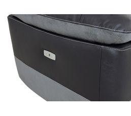 Canapé 3 places 2 relax élect. HOUSTON Cuir/croute cuir Noir