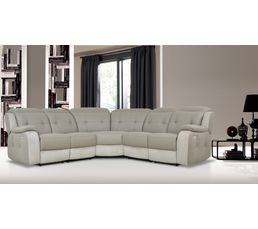 Canape D Angle 2 Relax Electrique Caravelle Ii Cuir Taupe Micro Gris