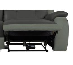 Canapé 3 places 2 Relax élect. CARAVELLE II Cuir/Croûte cuir Gri/Micr.Gris