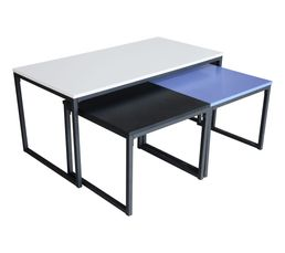 GAYA Table basse gigogne Noir/gris/bleu