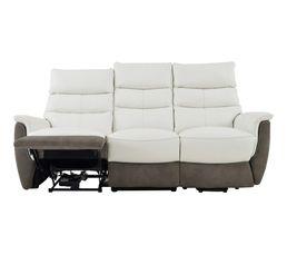 canap releveur lectrique droit maestro cuir blanc et micro gris canap s but. Black Bedroom Furniture Sets. Home Design Ideas