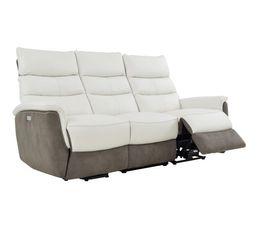 Canapé releveur élect.droit MAESTRO Cuir Blanc/Micro Gris