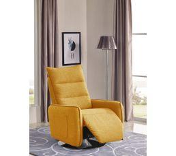 02d66349f46f23 Fauteuil relax pivotant LAGOON tissu jaune - Fauteuils BUT