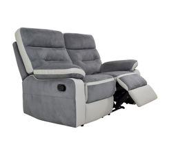 Canapé 2 places 2 relax manuel PRINCETON Micro/PU Gris