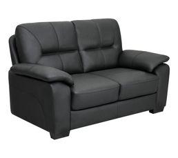 Canapé 2 places RANCH cuir et PU noir