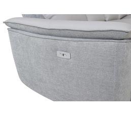 Canapé angle 2 rlx électrique EVE Cuir Gris clair / Tissu Métal